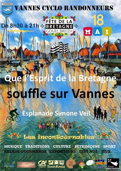 Fête De la Bretagne à Vannes le 18 mai sur l'esplanade Simone Veil, organisé par le Vannes Cyclo Randonneurs en partenariat avec la ville de Vannes