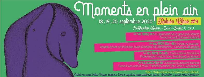 Dans ces temps tourmentés, Robièn Libré, notre festival, s'adapte et propose, du 18 au 20 septembre, des « Moments en plein air »
